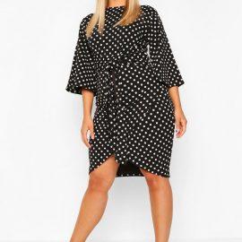 Womens Plus Polka Dot Kimono Sleeve Tie Waist Wrap Dress - Black - 24