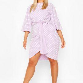 Womens Plus Polka Dot Kimono Sleeve Tie Waist Wrap Dress - Purple - 24