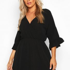 Womens Plus Ruffle Sleeve Wrap Front Skater Dress - Black - 24