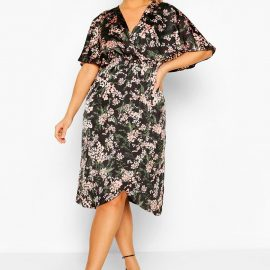 Womens Plus Satin Floral Wrap Midi Dress - Black - 24