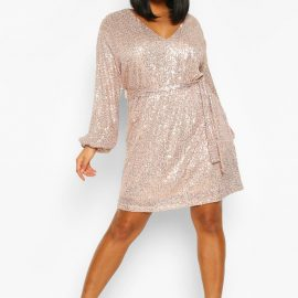 Womens Plus Sequin Belted Blouson Sleeve Wrap Dress - Metallics - 24