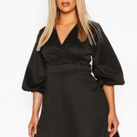 Womens Plus Volume Sleeve Wrap Skater Dress - Black - 24