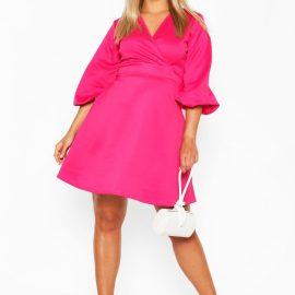 Womens Plus Volume Sleeve Wrap Skater Dress - Pink - 24