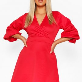 Womens Plus Volume Sleeve Wrap Skater Dress - Red - 24