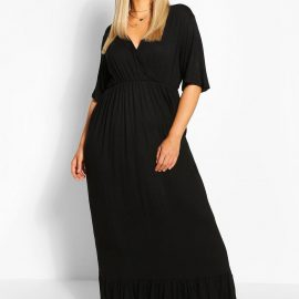 Womens Plus Wrap Ruffle Hem Maxi Dress - Black - 24