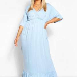 Womens Plus Wrap Ruffle Hem Maxi Dress - Blue - 24