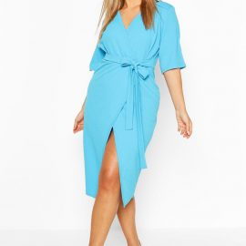 Womens Plus Wrap Self Belted Midi Dress - Blue - 24
