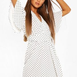 Womens Polka Dot Self Belted Wrap Dress - White at boohoo.com UK & IE