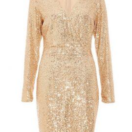 Womens *Quiz Gold Sequin Wrap Front Mini Dress