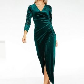Womens *Quiz Green Velvet Wrap Maxi Dress