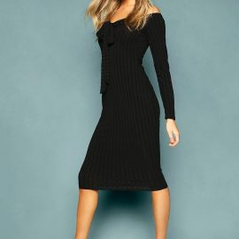 Womens Recycled Rib Off The Shoulder Wrap Midi Dress - Black at boohoo.com UK & IE