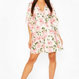 Womens Rose Print Wrap Front Skater Dress - White at boohoo.com UK & IE
