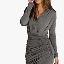 Womens Slinky Wrap Long Sleeve Bodycon Dress - Grey at boohoo.com UK & IE