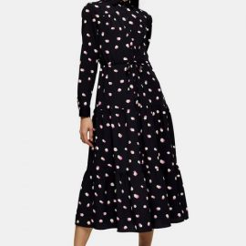 Womens Spot Tiered Midi Shirt Dress - Multi