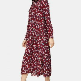 Womens Tall Burgundy Floral Trapeze Midi Shirt Dress - Burgundy