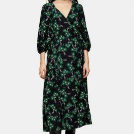 Womens Tall Green Daisy Tie Wrap Midi Dress - Green