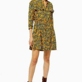 Womens Tall Idol Agadir Paisley Pleat Mini Shirt Dress - Mustard