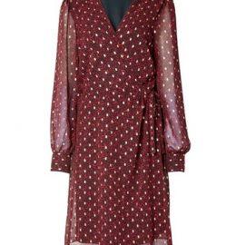 Womens **Tall Pink Spot Wrap Mini Dress