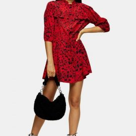 Womens Tall Red Animal Mini Shirt Dress - Red