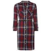Womens **Tall Red Check Belted Shirt Dress- Red - Dorothy Perkins Nursing Clothes