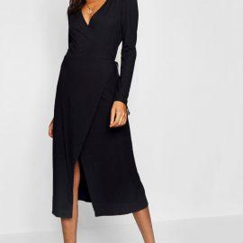 Womens Tall Rib Wrap Jersey Dress - Black at boohoo.com UK & IE