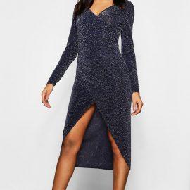 Womens Tall Shimmer Wrap Bodycon Midi Dress - Navy at boohoo.com UK & IE