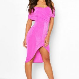 Womens Textured Slinky Off The Shoulder Wrap Dress - Pink at boohoo.com UK & IE