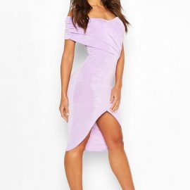 Womens Textured Slinky Off The Shoulder Wrap Dress - Purple at boohoo.com UK & IE