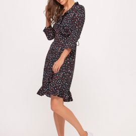 Women's Vero Moda ladies spot print wrap dress three quarter length sleeve frill hem at M&Co