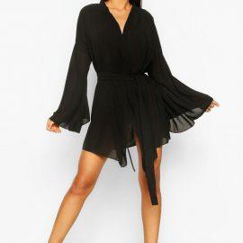 Womens Wide Sleeve Woven Wrap Dress - Black at boohoo.com UK & IE
