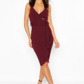 Womens Wrap Button Midi Dress - Purple at boohoo.com UK & IE