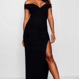 Womens Wrap Off The Shoulder Maxi Bridesmaid Dress - Black at boohoo.com UK & IE