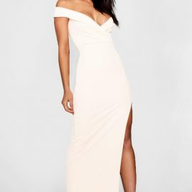 Womens Wrap Off The Shoulder Maxi Bridesmaid Dress - White at boohoo.com UK & IE