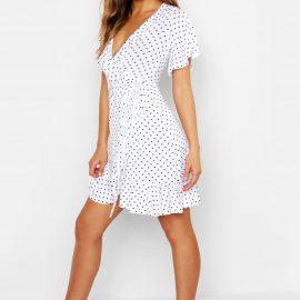 Womens Wrap Polka Dot Print Frill Detail Tea Dress - White at boohoo.com UK & IE