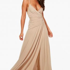 Womens Slinky Wrap Ruched Strappy Maxi Bridesmaid Dress - Beige at boohoo.com UK & IE