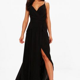Womens Slinky Wrap Ruched Strappy Maxi Bridesmaid Dress - Black at boohoo.com UK & IE