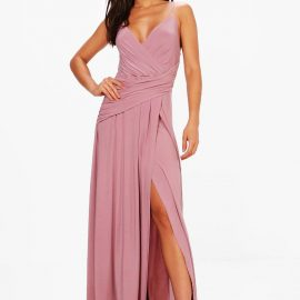 Womens Slinky Wrap Ruched Strappy Maxi Bridesmaid Dress - Purple at boohoo.com UK & IE