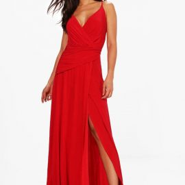 Womens Slinky Wrap Ruched Strappy Maxi Bridesmaid Dress - Red at boohoo.com UK & IE