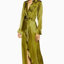 Womens **Wrap Silk Shirt Maxi Dress By Topshop Boutique - Khaki