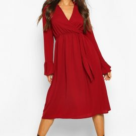 Womens Wrap Split Midi Dress - Red at boohoo.com UK & IE
