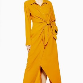 Womens **Yellow Wool Rich Wrap Shirt Dress By Topshop Boutique - Yellow