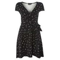 Womens black doodle wrap dress- Black - Dorothy Perkins Nursing Clothes