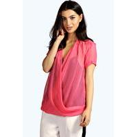 Wrap Front Sheer Woven Blouse - pink - boohoo.com Nursing Clothes