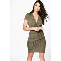 Wrap Gathered Bodycon Dress - khaki - boohoo.com Nursing Clothes