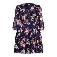 Yumi Curves Yumi Curves Floral Print Wrap Dress