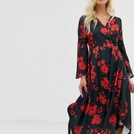 Zibi London wrap front midi dress with hanky hem