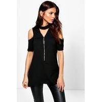Zip Through Choker Cold Shoulder Top - black - boohoo.com Nursing Clothes