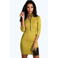 Zip Turtle Neck Rib Bodycon Dress - olive - boohoo.com Nursing Clothes